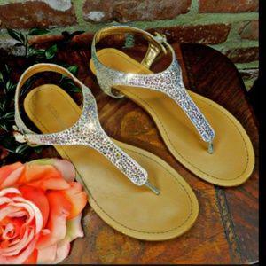 BCBG Generation Crystal Rhinestone T strap sandals